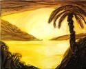Sonnenuntergang, Palmen, Malerei