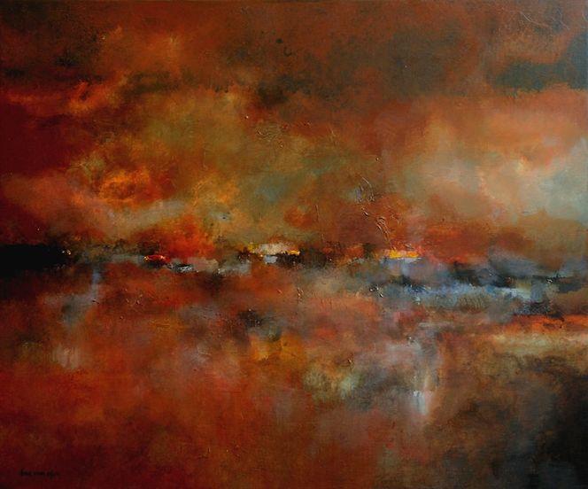 Landschaft, Abstrakt, Acrylmalerei, Malerei, Bad