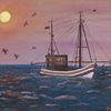 Zeitgenössischer maler, Wasser, Abend, Sonne