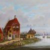 Haus, Menschen, Zeitgenössischer maler, Sommer