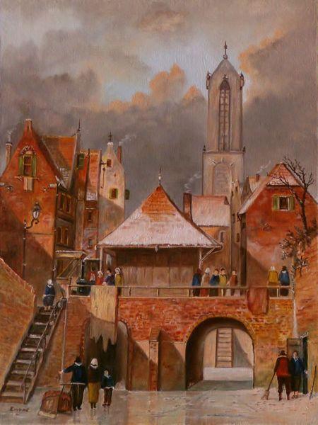 Holland, Gemälde, Himmel, Landschaftsmalerei, Romantik, Häuser