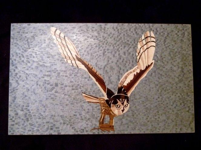Edelholz, Kunsthandwerk, Furnier, Intarsienbilder, Holz, Eule