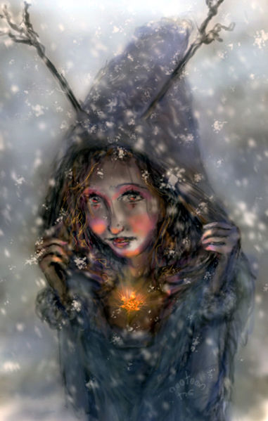 Winter, Kalt, Herz, Flocken, Illustration, Horn