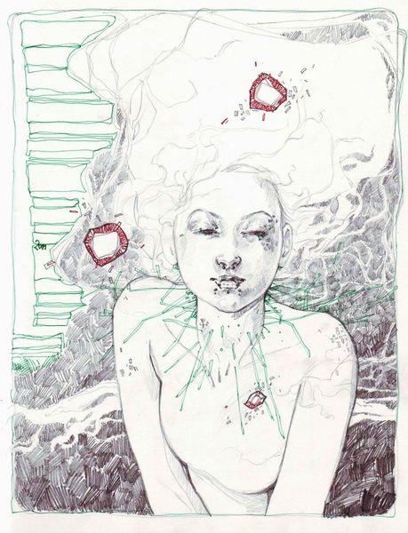 Haare, Bleistiftzeichnung, Portrait, Zeichnungen,