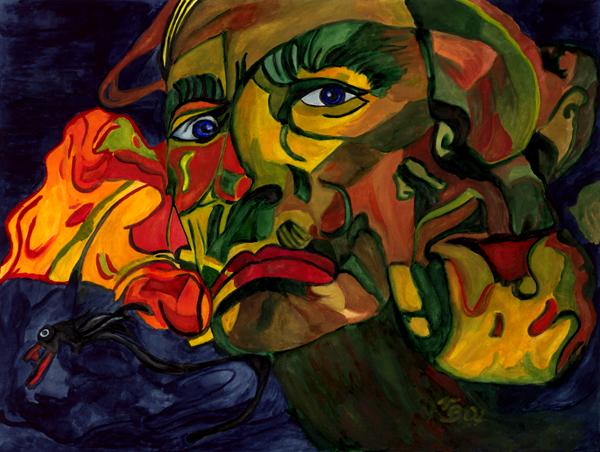 Pantomime, Maske, Narr, Malerei, Surreal