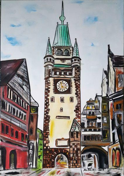 Tor, Martinstor, Freiburg, Heimat, Malerei
