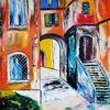 Toskana, Gasse, Altstadt, Malerei