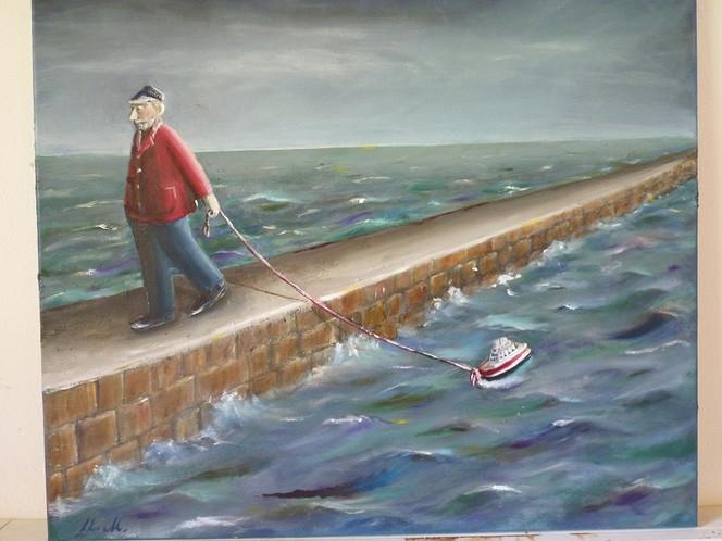 Meer, Seemann, Boot, Malerei, Menschen