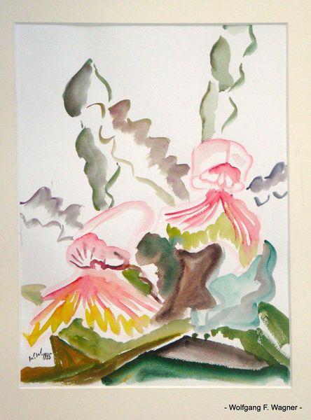 Locker, Orchidee, Vereinfachung, Leichtigkeit, Aquarellmalerei, See rot