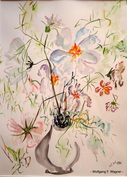 Verwelken, Blumen, Vase, Malerei, Stillleben