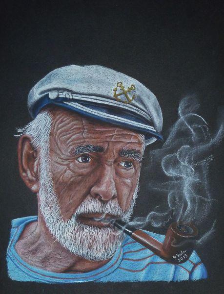 Seemann, Pfeife, Zeichnung, Seebär, Rauchen, Portrait