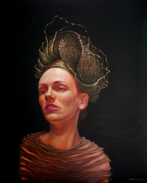 Frau, Surreal, Portrait, Malerei,