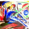 Aquarellmalerei, Pferde, Traum, Blau