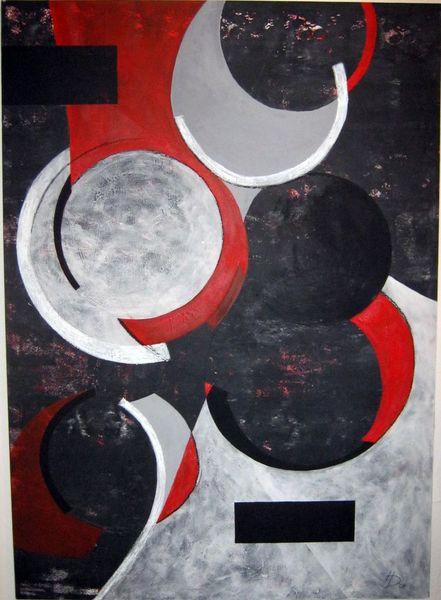 Grau, Abstrakt, Komposition, Formen, Rot schwarz, Malerei