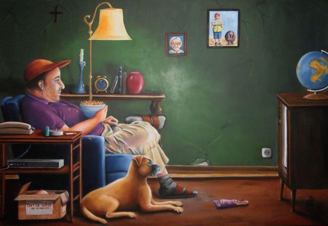 Chiffre, Hund, Tiger, Fernseher, Mann, Sofa