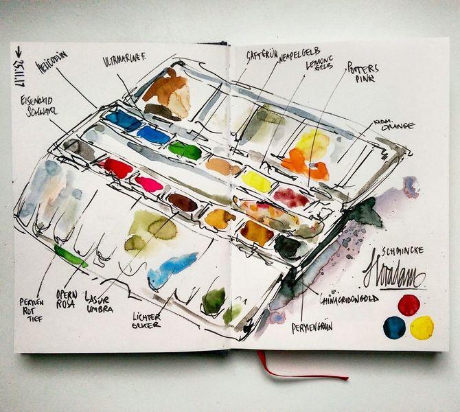 Kasten, Sketching, Skizze, Aquarellmalerei, Skizzenbuch, Mischtechnik