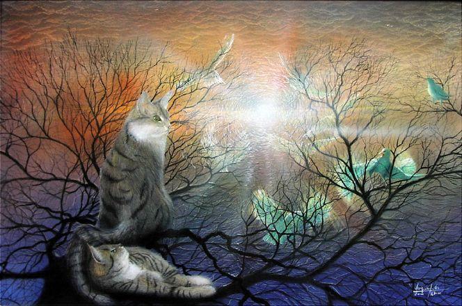 Katzenmalerei, Katze, Äste, Tierwelt, Strahlen, Fantastische malerei