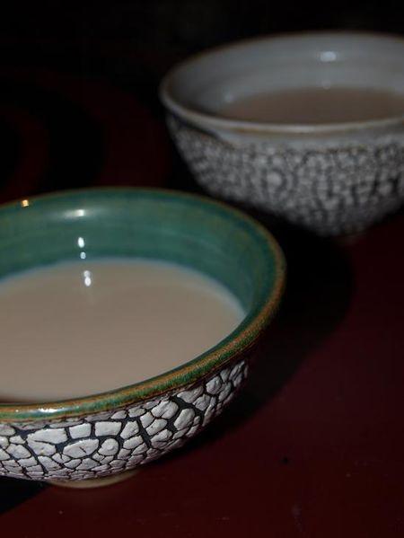 Krackglasur, Krakelee, Teeschale, Tee, Türkis, Kunsthandwerk