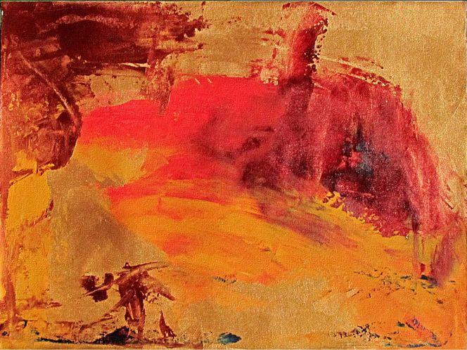 Acrylmalerei, Tusche, Rot, Strukturpaste, Gemälde, Formen