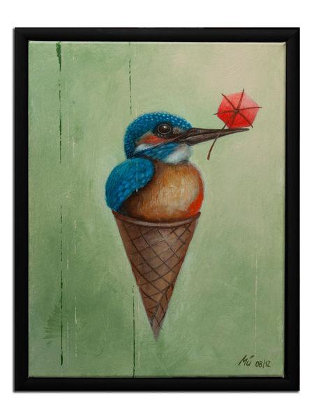 Schirmchen, Vogel, Waffeleis, Eiswaffel, Malerei, Tiere
