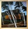 Malerei, Haus, Birken