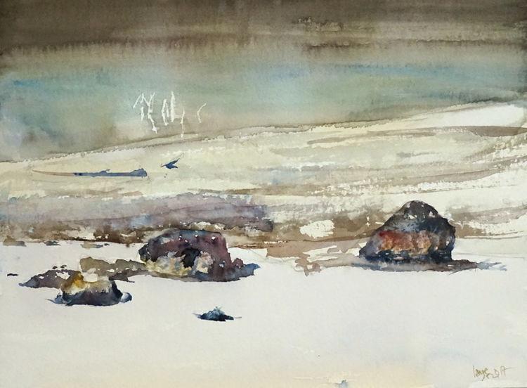 See, Schnee, Walchensee, Felsen, Aquarell
