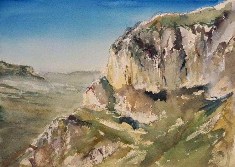 Italien, Felsen, Landschaft, Aquarell
