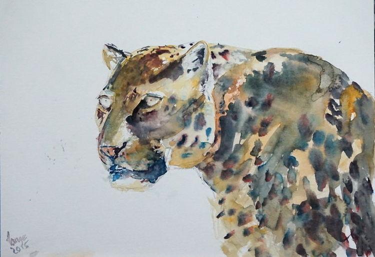 Leopard, Aquarell