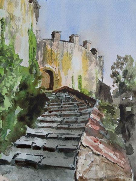 Burg treppe gößweinstein, Aquarell