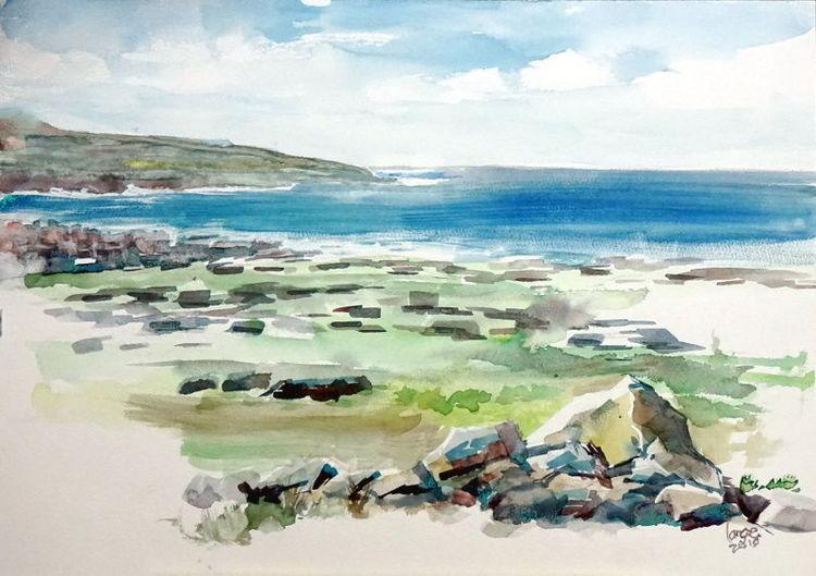 Landschaft, Felsen, Irland, Küste, Strand, Aquarell
