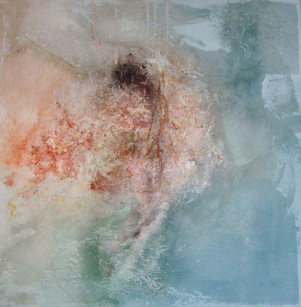 Dispersionsbilder, Pigmente, Blau, Rot, Marmormehl, Braun