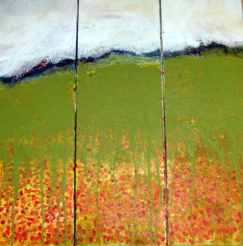 bild triptychon blumenwiese gr n acrylmalerei von martina bei kunstnet. Black Bedroom Furniture Sets. Home Design Ideas