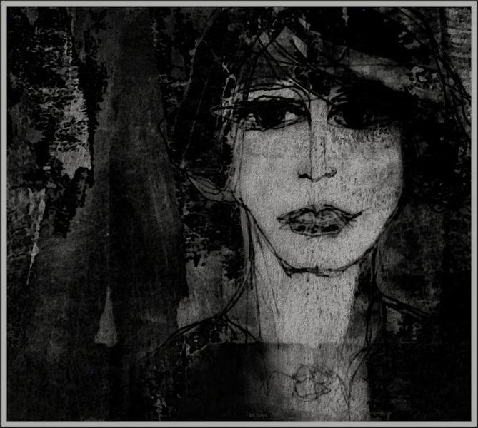 Allee, Portrait, Baum, Nacht, Schwarzweiß, Frau