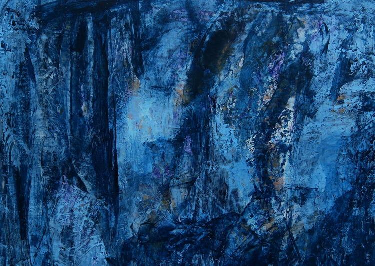 Blau, Weiß, Mondnacht, Nacht, Malerei