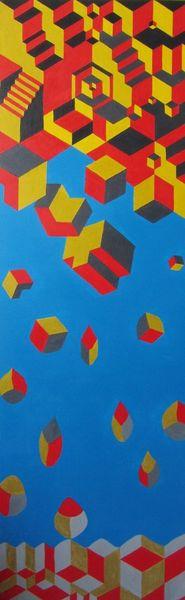 Acrylmalerei, Würfel, Blau, Gold, Rot schwarz, Quadrat