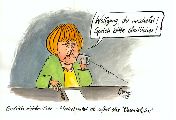 Karikatur, Nsa, Cartoon, Lauschangriff, Angela merkel, Zeichnungen