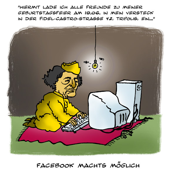 Cartoon, Gaddafi, Karikatur, Zeichnungen,