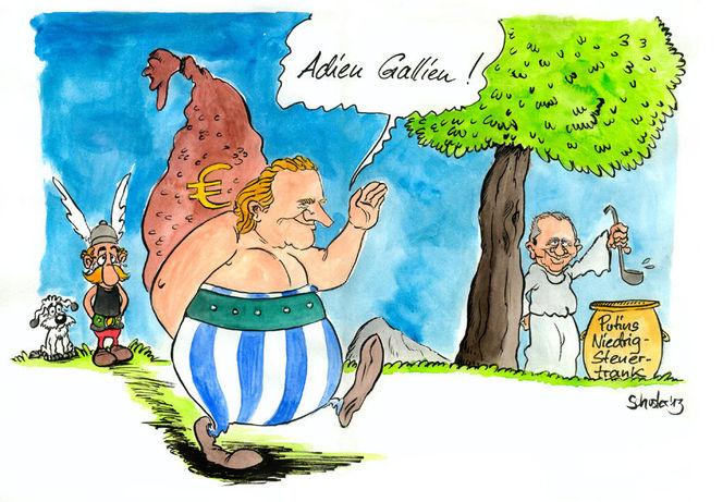 Russland, Putin, Cartoon, Depardieu, Karikatur, Frankreich