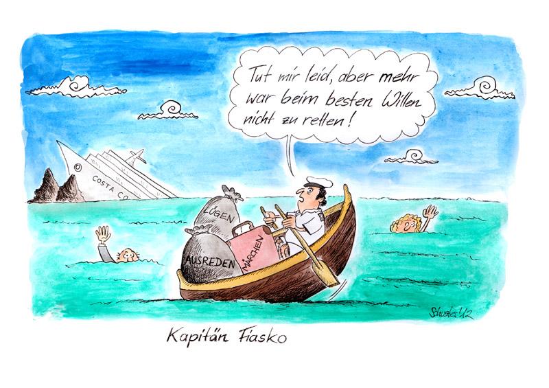 Bild Karikatur Schiff Untergang Costa Von Mario