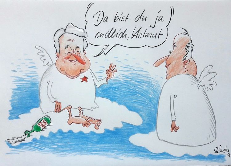 Jelzin, Cartoon, Kohl, Boris, Karikatur, Zeichnungen
