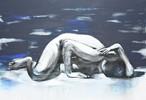 - acryl akt blau frau kalt licht