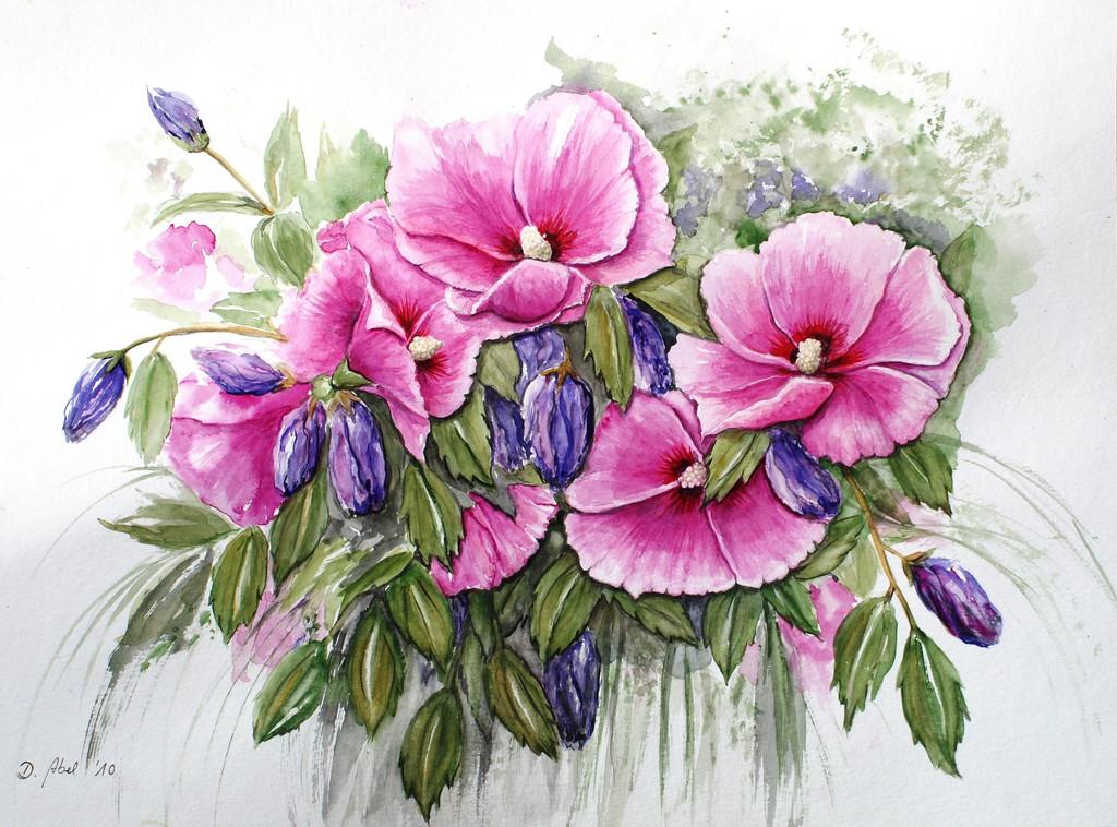 bild hibiskus blumen bl te pflanzen von doris abel bei kunstnet. Black Bedroom Furniture Sets. Home Design Ideas