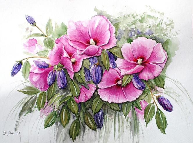Blumen, Blüte, Pflanzen, Sommer, Hibiskus, Malerei