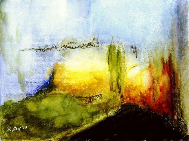 Abstrakt, Aquarellmalerei, Baum, Farben, Landschaft, Malerei