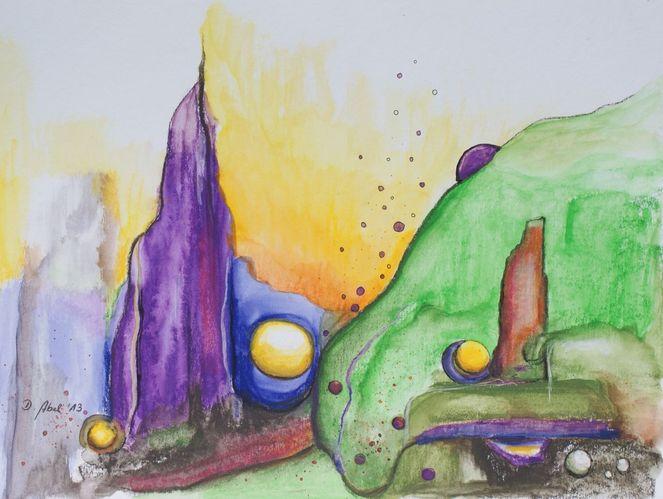 Formen, Experimente, Kugel, Aquarellmalerei, Grün, Landschaft
