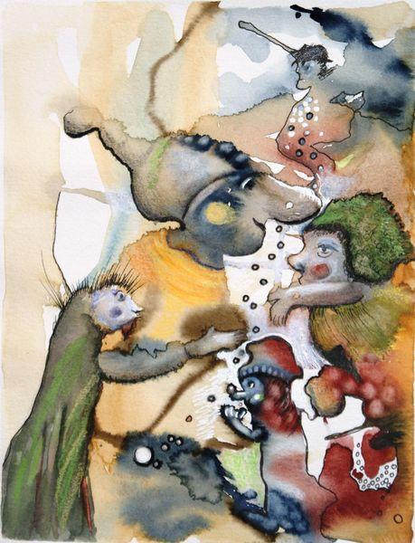Fantasie, Aquarellmalerei, Gestaltung, Wichtel, Malerei