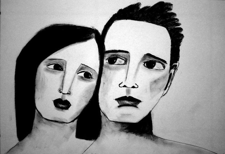 Kohlezeichnung, Paar, Liebe, Zeichnungen, Studie