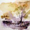 Schicht, Aquarellmalerei, Landschaft, Nass