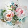 Aquarellmalerei, Nass, Blumen, Schicht