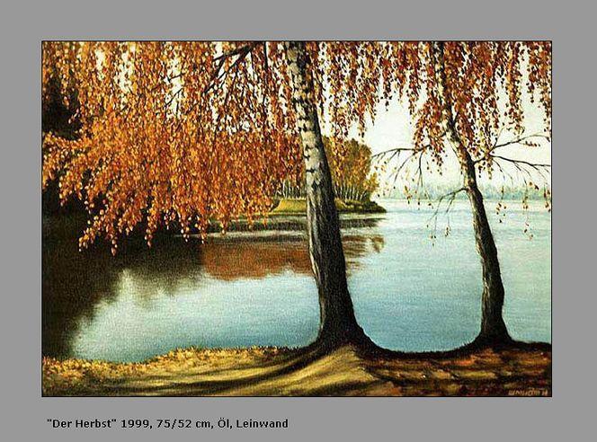 Herbst, Blätter, Natur, Malerei, Ölmalerei,